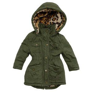 Urban Republic Khaki Green Leopard Faux Fur Jacket